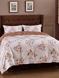 Floral Duvet Cover Sets 4 Piece Cotton Pattern Reactive Print Cotton Queen 1pc Duvet Cover 2pcs Shams 1pc Flat Sheet