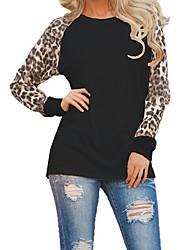 Damen Leopard Einfach Street Schick Ausgehen Lässig/Alltäglich Übergröße T-shirt,Rundhalsausschnitt Frühling Herbst Langarm Polyester