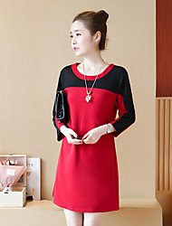 Damen Einfarbig Niedlich Formal T-shirt,Rundhalsausschnitt Langarm Baumwolle