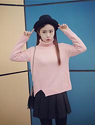 Sign # 2016 autumn and winter Korean loose irregular thickening split turtleneck sweater bottoming sweater woman