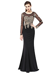 Formal Evening Dress Trumpet / Mermaid Scoop Floor-length Lace with Appliques
