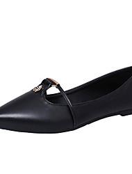 Women's Flats Spring Fall Comfort PU Office & Career Casual Flat Heel Beading Black Silver Army Green