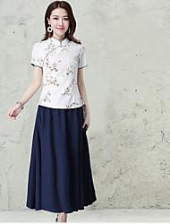 femmes&# 39; 2017 boutons de ressort plaque nationale impression col costume à manches courtes petite chemise mince vent classique