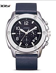 SINOBI Relógio de Moda Quartzo Impermeável Noctilucente Resistente ao Choque Couro Legitimo Banda Casual Azul Marinho Azul Escuro