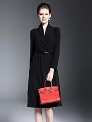 Burdully Casual/Daily Simple Sheath DressSolid V Neck Midi Long Sleeve Polyester Black Spring Summer High Rise Inelastic