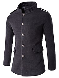 Men's Casual/Daily Simple Winter Trench Coat,Solid Stand Long Sleeve Regular Others