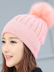Women 's Wool Solid Color Vertical Striped Hair Ball Hand - knitted Warm Winter Cap
