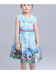 Girl's Beach Solid Dress,Cotton Summer Sleeveless