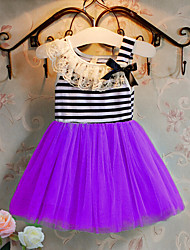 Girl's Solid Striped Dress,Cotton Summer Spring Sleeveless