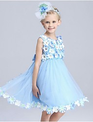 Ball Gown Knee-length Flower Girl Dress - Organza Sleeveless Jewel with Flower(s)