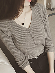 2017 spring new thread V-neck pullover button Slim thin sweater bottoming female
