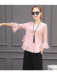 падения моды костюм женские широкие брюки ноги девять очков XL воланами шифона рубашку свободно из двух частей разделить юбки прилива