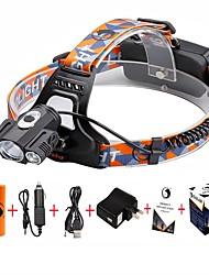 Stirnlampen LED 5000 Lumen 4.0 Modus Cree XP-E R2 Cree XM-L T6 18650 einstellbarer Fokus Zoomable-Camping / Wandern / Erkundungen Für den