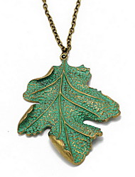 Women's Pendant Necklaces Statement Necklaces Alloy Leaf Euramerican Statement Jewelry Light Green Jewelry Birthday Daily 1pc