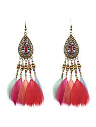 Ethnic Women Acrylic Feather Drop Earrings
