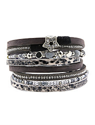 Fashion Women Trendy 4 Rows Rhinestone Set Star Beads Wrap Leather Bracelet