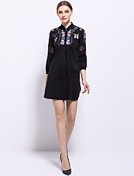 Feminino Solto Vestido,Para Noite Casual Praia Vintage Simples Moda de Rua Estampa Colorida Colarinho Chinês Médio Manga ¾ Preto Algodão