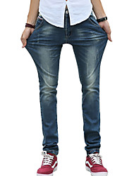 Men's Slim Jeans PantsCasual/Daily Simple Solid Mid Rise Button Cotton Polyester Micro-elastic All Seasons MG-Y602
