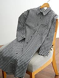 assinar 2017 novos de manga comprida xadrez mulheres camisa de algodão&# 39; s seções fino e longa coreano suburbanos assentamento
