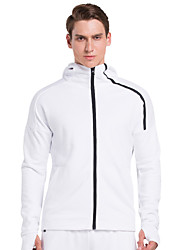 Vansydical® Men's Long Sleeve Running Tops Quick Dry Fall/Autumn Winter Sports Wear Running Cotton Loose White Classic