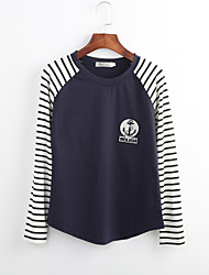 Damen Solide Street Schick Ausgehen T-shirt,Rundhalsausschnitt Frühling / Herbst Langarm Blau / Weiß / Schwarz / Grau Baumwolle Dünn