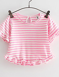 Girl Going out Striped Tee,Cotton Summer Short Sleeve Short