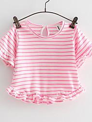 Camiseta Chica Noche A Rayas Algodón Manga Corta Verano Corto