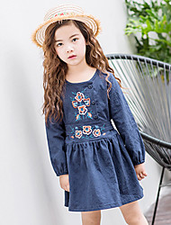Girl's Cotton Retro Fashion Daily/Go Out Spring/Fall Solid Color Long Sleeve Princess Dress Children Embroidered Flower One-piece