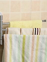 Silver Bathroom Kitchen Rotating Towel Holder 3 Movable Rod Towel Bar Belt Towel Rack Bathroom Accessories