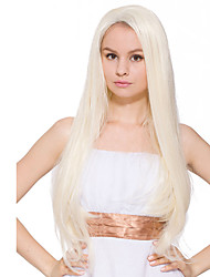 Top Quality Lace Front Wig Long Straight Wig Lace Front Bleach Color Synthetic Fiber Wig