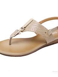 conforto sandálias de verão pu ocasional fivela calcanhar plana