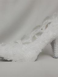 Mujer-Tacón Stiletto Plataforma-Confort Innovador-Tacones-Boda Fiesta y Noche-Seda-Blanco