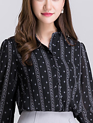 Real shot 2016 autumn new Korean OL Slim ladies bubble long-sleeved chiffon shirt female