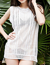 Women's Cover-Up,Solid Cotton Polyester White