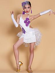 Latin Dance Dresses Children's Performance Spandex Milk Fiber Crystals/Rhinestones Tassel(s) 7 Pieces Sleeveless NaturalGloves Dress
