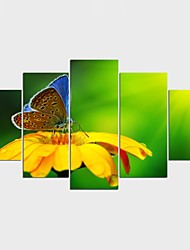 Stretched Canvas Print Animal Floral/Botanical Style Modern,Five Panels Canvas Any Shape Print Wall Decor For Home Decoration
