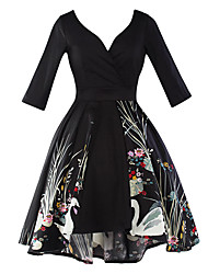 Women's Party Vintage Sheath Dress,Print Deep V Knee-length ¾ Sleeve Cotton Polyester Black Spring Summer High Rise Micro-elastic