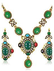 Set de Bijoux Boucles d'oreilles Collier euroaméricains Mode Résine Strass Alliage Forme Géométrique1 Collier 1 Paire de Boucles