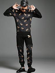 homens&# 39; s nova abelha ocasional personalidade tendência impressa coreano algodão calças pés yushoukuan