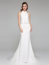 Mermaid / Trumpet High Neck Court Train Charmeuse Wedding Dress with Criss-Cross by LAN TING BRIDE®