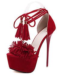 Damen-Sandalen-Kleid-Vlies-StöckelabsatzSchwarz Rot