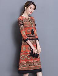 17 nouvelle jupe nationale robe à manches mince rétro tempérament vent longue section des femmes&# 39; automne
