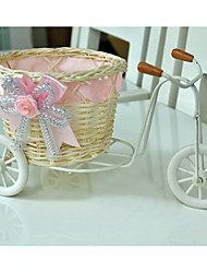 Moveable Nostalgic Handmade Rattan stand Bicyclerandom color for the RibbonCan decorative with mini artificial flowers