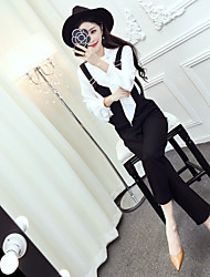 Sign 2017 spring new long-sleeved shirt + tie sweet chiffon fashion overalls suit