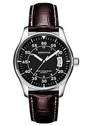 Relógio de Moda Quartzo Calendário Impermeável Couro Banda Casual Marrom Branco Preto
