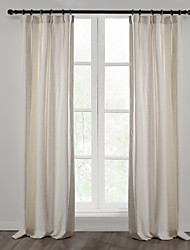 Two Panels Linen Cotton Solid Panel Bedroom Curtains Drapes White