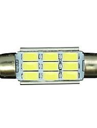 10x Festoon 39mm 9 5730 WHITE Car Interior LED No-polar 12V Dome Map Light Bulb 12V