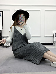Sign Autumn new wave of women's long sections bottoming sweater vest harness dress autumn and winter coat