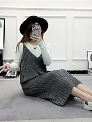 подписать осенью новую волну женщин&# 39, S длинные участки дна свитера жилет использовать платье осени и зимнее пальто