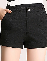 Women's Loose Straight Shorts Pants,Going out Casual/Daily Simple Cute Solid Plaid Lace Mesh High Rise Zipper Button Polyester